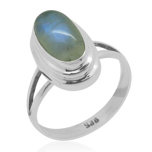 Royal Bali Collection Rainbow Moonstone (Ovl) Solitaire Ring in Sterling Silver 4.730 Ct.
