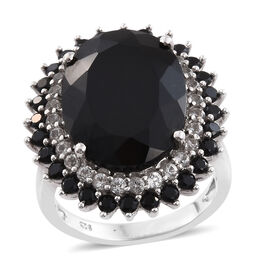 Black Tourmaline (Ovl 19.15 Ct), Boi Ploi Black Spinel and White Topaz Ring in Platinum Overlay Sterling Silver 22.500 Ct.
