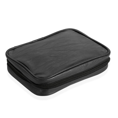 Black Colour Travelling Jewellery Bag (Size 25x20x6 Cm) with 5 Transparent Zipper Pouch (Size 19x15 Cm)