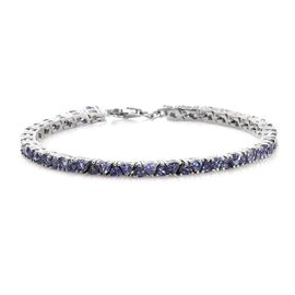Tanzanite (Trl) Tennis Bracelet (Size 7.5) in Platinum Overlay Sterling Silver 8.000 Ct. Silver wt 9.65 Gms.
