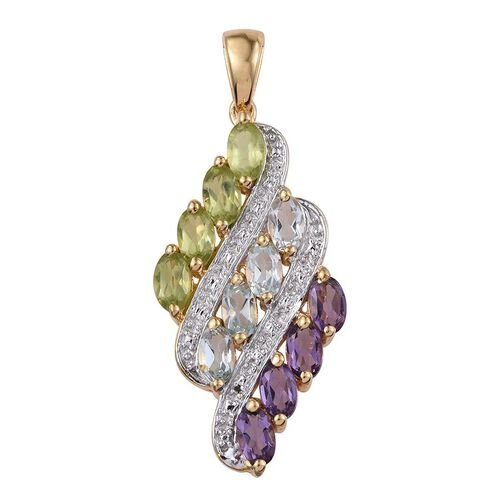 Sky Blue Topaz (Ovl), Hebei Peridot and Amethyst Pendant in 14K Gold Overlay Sterling Silver 2.750 Ct.