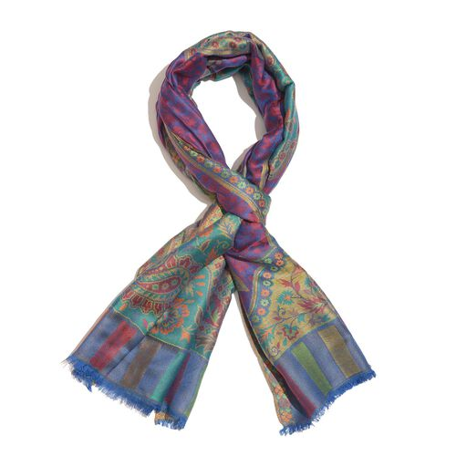 100% Superfine Modal Purple, Green and Multi Colour Floral and Paisley Pattern Jacquard Scarf (Size 190x70 Cm)