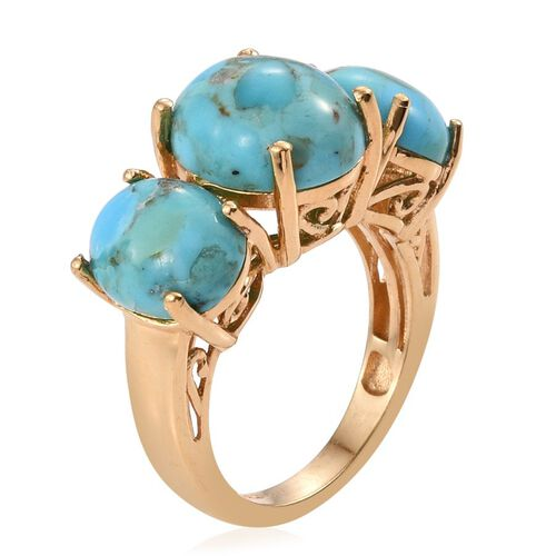 Arizona Matrix Turquoise (Ovl 5.00 Ct) 3 Stone Ring in 14K Gold Overlay Sterling Silver 10.000 Ct.
