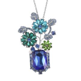 Blue Austrian Crystal, Simulated White Pearl and Simulated Multi Colour Gemstone Flower and Leaves Pendant with Chain (Size 20) in Silver Tone with Stainless Steel
