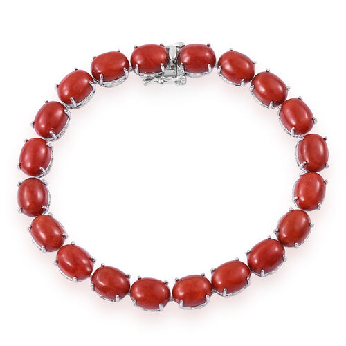Red Jade (Ovl) Dragon Bracelet (Size 7.5) in Platinum Overlay Sterling Silver 51.000 Ct.