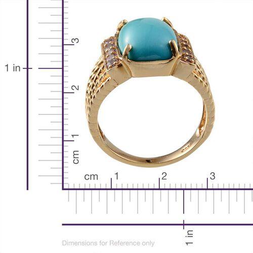 Arizona Sleeping Beauty Turquoise (Cush 5.00 Ct), Tanzanite Ring in 14K Gold Overlay Sterling Silver 5.500 Ct.