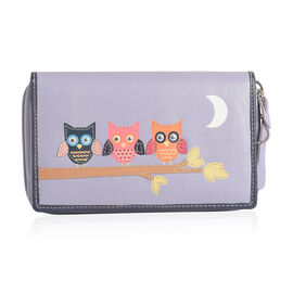 100% Genuine Leather Baby Lilac, Orange and Multi Colour Owl with Moon Pattern RFID Blocker Ladies Wallet (Size 16x10x3 Cm)