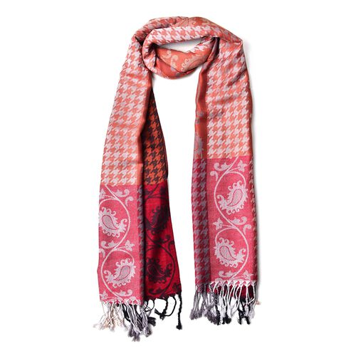 Pink, Orange and Multi Colour Houndstooth and Paisley Pattern Scarf with Tassels (Size 185X70 Cm)