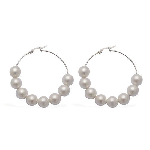 White Resin Pearl Hoop Earrings in Stainless Steel