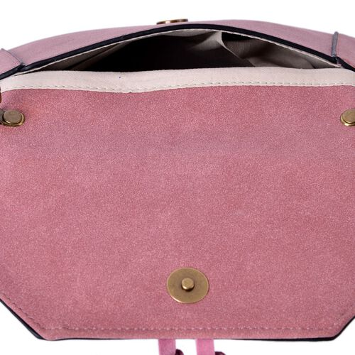 Pink Colour Elephant Clutch Bag with Tassels and Chain Strap (Size 24x16 Cm)