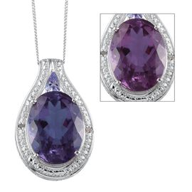 Lavender Alexite (Ovl 8.75 Ct), Tanzanite and Diamond Pendant With Chain in Platinum Overlay Sterling Silver 9.010 Ct.