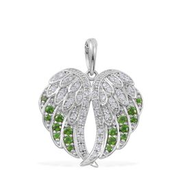 1.17 Ct Russian Diopside and Natural Cambodian Zircon Angel Wings Pendant in Platinum Plated Silver