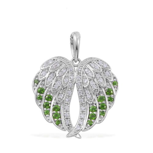 Russian Diopside (Rnd), Natural Cambodian Zircon Angel Wings Pendant with Chain in Platinum Overlay Sterling Silver
