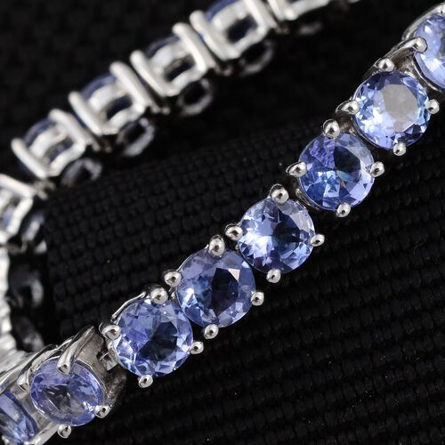 Tanzanite (Rnd) Adjustable Bracelet (Size 6-9)  in Platinum Overlay Sterling Silver 4.500 Ct.