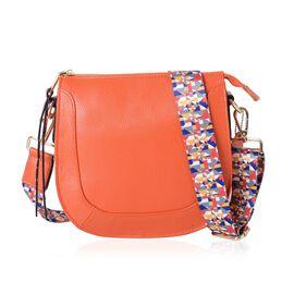 Premium Super Soft 100% Genuine Leather Orange Colour Crossbody Bag with Multi Colour Removable Shoulder Strap (Size 22x20x8 Cm)