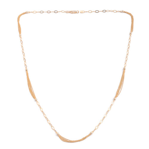 JCK Vegas Collection 14K Gold Overlay Sterling Silver Multi Strand Beads Necklace (Size 24), Silver wt. 6.00 Gms.