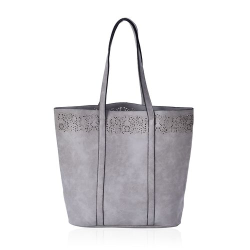Grey Colour Tote Bag (Size 43.5x35x32x12 Cm)