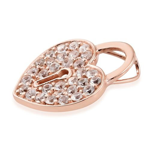 1.50 Ct Natural Cambodian Zircon Heart Lock Pendant in Vermeil Rose Gold Plated Silver