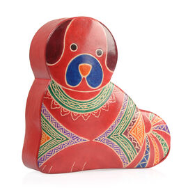 100% Genuine Leather Hand Painted Dog Design Money Bank (Size 15X15X4 Cm)