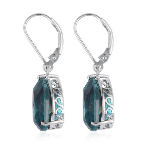 Capri Blue Quartz (Pear) Lever Back Earrings in Platinum Overlay Sterling Silver 11.750 Ct.