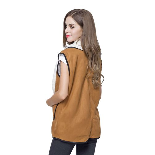 New Season - Chocolate Colour Drape Collar Sherpa Style Gilet (Size 80X50 Cm) with Pockets (Size 14X12 Cm)