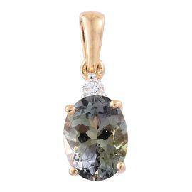 ILIANA 18K Yellow Gold 1.57 Ct Rare AAA Green Tanzanite Pendant with Diamond SI G-H