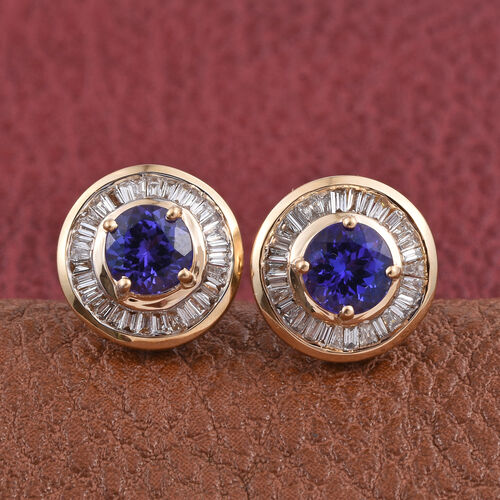 ILIANA 18K Y Gold AAA Tanzanite (Rnd), Diamond (SI/G-H) Stud Earrings (with Screw Back) 1.750 Ct.
