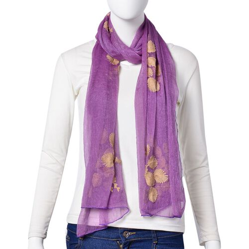 Golden Peacock Embroidered Purple Colour Scarf (Size 170X70 Cm)