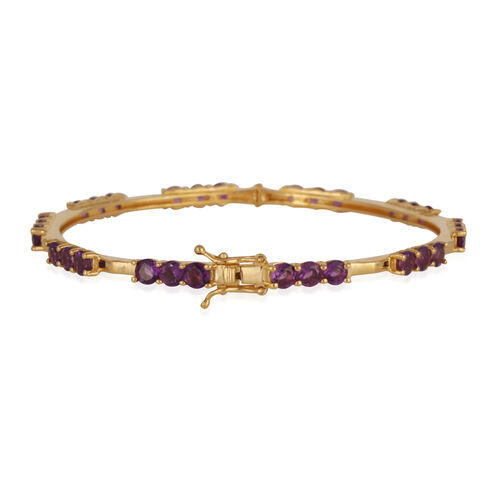 Uruguay Amethyst (Rnd) Bangle (Size 7.5) in 14K Gold Overlay Sterling Silver 7.500 Ct.