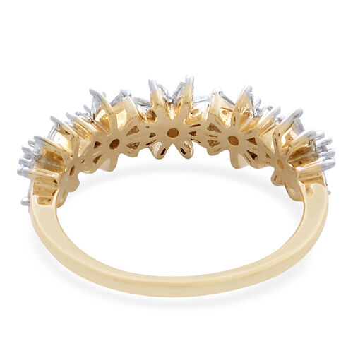 Limited Edition- 9K Y Gold SGL Certified Diamond (Rnd) (I3/G-H) Floral Ring 0.500 Ct.