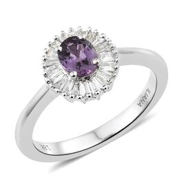 ILIANA 18K White Gold Natural Unheated Purple Sapphire (Ovl), Diamond (SI/G-H) Ring 1.000 Ct.