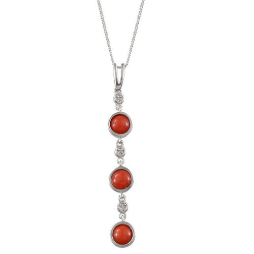 Natural Mediterranean Coral (Rnd), Diamond Pendant With Chain in Platinum Overlay Sterling Silver 2.270 Ct.