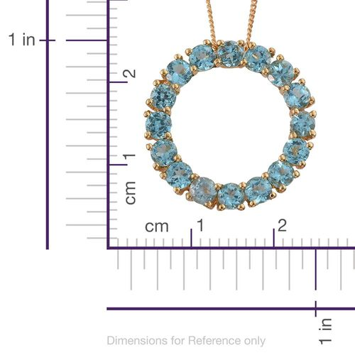 Paraiba Apatite (Rnd) Circle of Life Pendant with Chain in 14K Gold Overlay Sterling Silver 3.250 Ct.