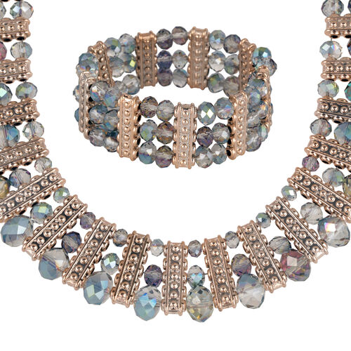 Simulated Multi Colour Diamond Necklace (Size 18) and Bracelet (Size 7.50) in Rose Gold Tone