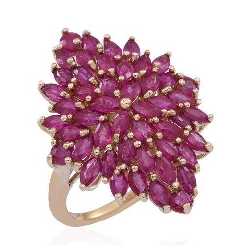 9K Y Gold Burmese Ruby (Mrq) Cluster Ring 5.500 Ct. Gold Wt 5.30