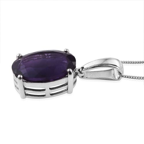 AA Lusaka Amethyst (Ovl) Pendant With Chain in Platinum Overlay Sterling Silver 11.750 Ct.