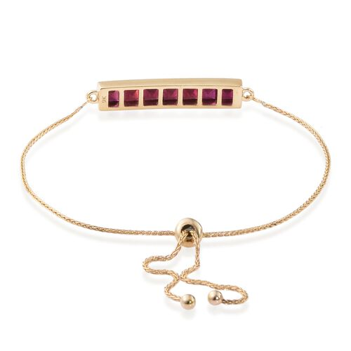 9K Yellow Gold 3.25 Ct African Ruby Adjustable Bracelet (Size 6.5 to 9)