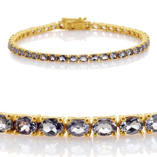 Green Tanzanite (Ovl) Bracelet (Size 7.5) in 14K Gold Overlay Sterling Silver 6.750 Ct.