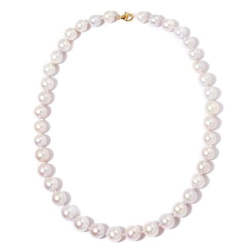 Collectors Edition-ILIANA 18K Y Gold AAAA Rare Top Lustre Round Edison Pearl  Necklace (Size 18)