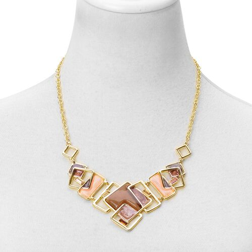 AAA Simulated Multi Colour Diamond Necklace (Size 20) and Earrings in Yellow Gold Tone