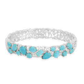 Arizona Sleeping Beauty Turquoise (Pear) Bangle (Size 7) in Platinum Overlay Sterling Silver 8.400 Ct.