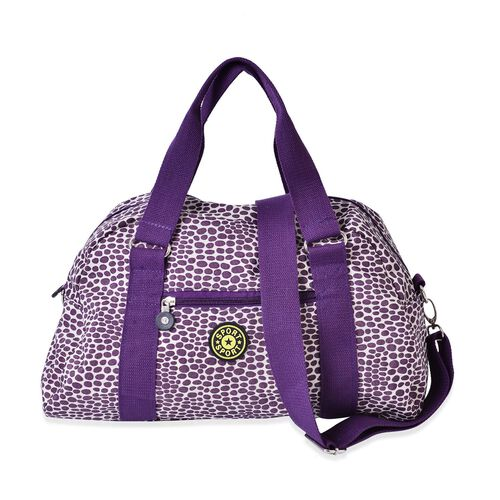 Purple Colour Polka Dots Pattern Waterproof Sport Bag with External Zipper Pocket and Adjustable and Removable Shoulder Strap (Size 21.5x17x7 Cm)