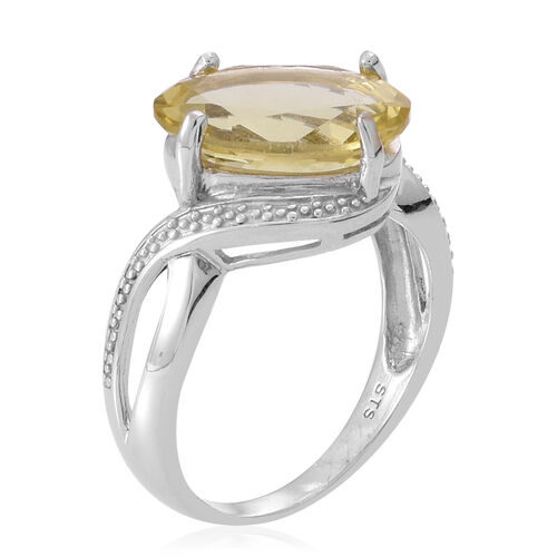 Lemon Quartz (Ovl) Solitaire Ring in Rhodium Plated Sterling Silver 5.000 Ct.