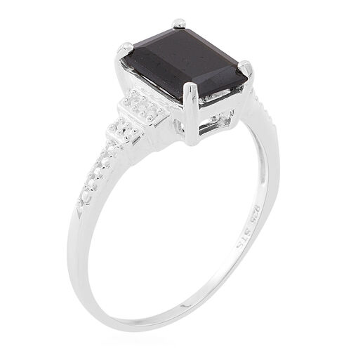 Boi Ploi Black Spinel (Oct) Solitaire Ring in Sterling Silver 3.250 Ct.