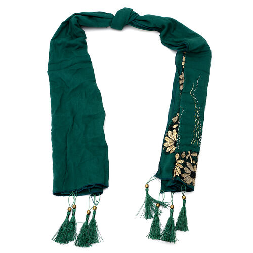 Floral Pattern Green Colour Scarf with Embellishment (Size 170x60 Cm)