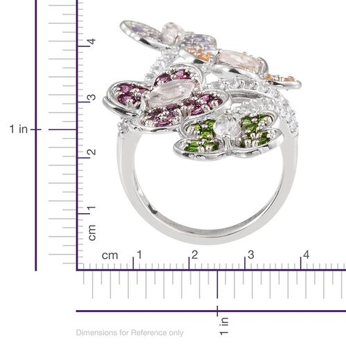 GP Rhodolite Garnet (Rnd), Tanzanite, Citrine, Russian Diopside, Kanchanaburi Blue Sapphire and White Topaz Butterfly Crossover Ring in Platinum Overlay Sterling Silver 5.000 Ct.