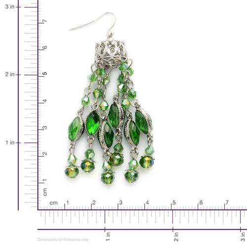 Set of 2 - Simulated Ruby and Diopside Chandelier Earrings