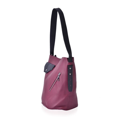 Burgundy and Black Colour Tote Bag with External Zipper Pocket and Shoulder Strap (Size 33x30x25x21.5 Cm)