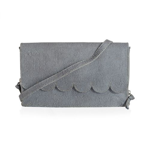 Georgia Genuine Leather Snake Embossed Sky Blue Scalloped Bag with Adjustable Shoulder Strap (Size 28x15x6 Cm)