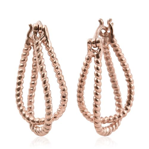 Designer Inspired-Rose Gold Overlay Sterling Silver Hoop Earrings (with Clasp), Silver wt 4.96 Gms.